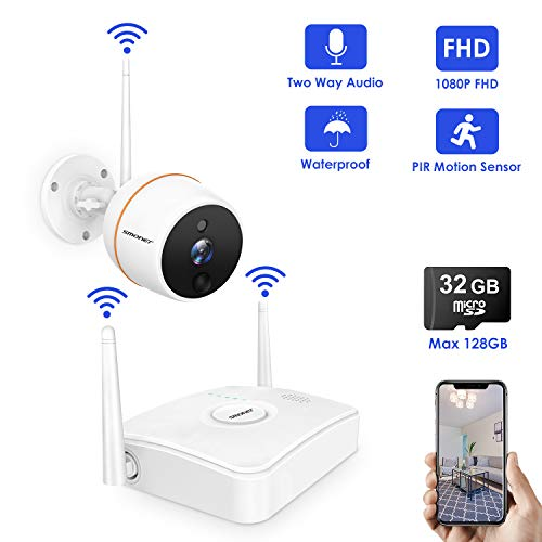 [1080P NVR] SMONET Security Camera System Wireless,1080P 4CH Mini NVR and 1pc Night Vision 1080P Outdoor WiFi IP CCTV Camera,True Plug&Play,Outdoor Wireless Security System with 32G TF Card(Max 128G) SMONET