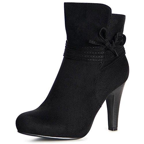 topschuhe24 1003 Damen Plateau Stiefeletten Ankle Boots Schwarz