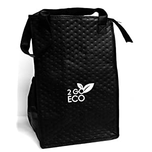 2GoECO Adult Lunch Bag Insulated Cooler Black Tall Water Bottle Carrier Wine Tote For Men/Women