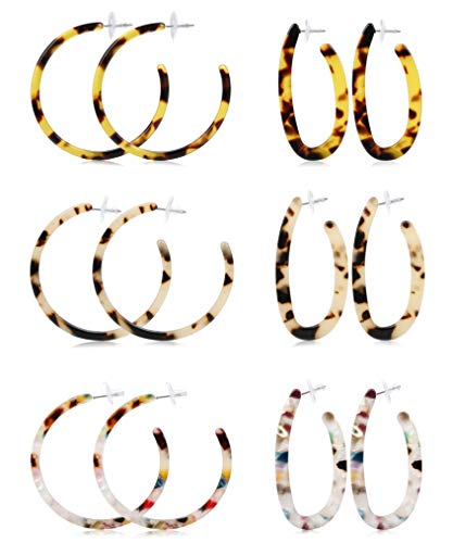 LOLIAS 6 Pairs Acrylic Hoop Drop Statement Earrings for Women Resin Fashion Jewelry