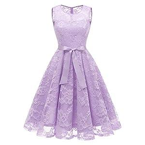 7ac47d6456d766 MUADRESS 6016 Round Neck Lace Bridesmaid Dress Knee Length Wedding Party  Dress with Belt