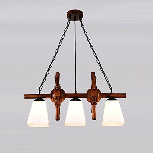 Restaurant Chandelier 3 Retro Wooden Ceiling Light SYAODU Pendant Lamp AC110-240V Milky White (Branch 96 Bulb)