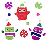 Winter Reusable Gel Window Clings ~ Owls Dressed for Winter with Multicolored Snowflakes (29 Clings, 1 Sheet)