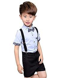 La Vogue Boys Summer Gentleman Outfit Suits 3Pcs Short Sleeve Shirt Suspender Pants Bow Tie Tuxedo Dress Suit