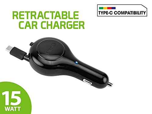 "Price comparison product image Professional Retractable Xperia XZ Premium 3A Car Charger with ""One-Touch"" rapid button system! (15 Watts / BLACK)"