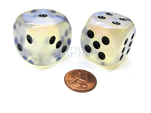 Borealis 30mm Large D6 Chessex Dice, 2 Pieces - Aquerple with Black Pips