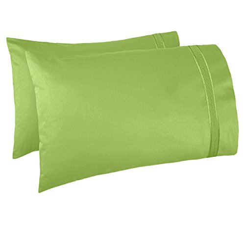 Nestl Bedding Soft Pillow Case Set of 2 - Double Brushed Microfiber Hypoallergenic Pillow Covers - 1800 Series Premium Bed Pillow Cases, Standard/Queen - Garden Green