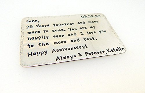 - Sterling Silver Engraved or Hand Stamped Vows Keepsake for Wife or Groom Wallet Insert Card Great Gift Idea 1st 5th 10th 15th 20th 25th Anniversary