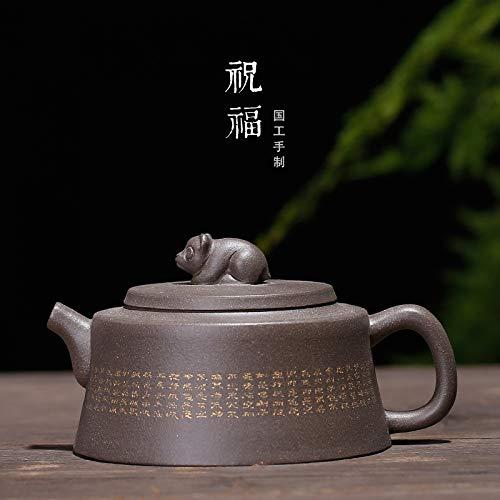 (LDYGTeaService Chinese Yixing Zisha Teapot, Handmade Vintage Retro Unique Oriental Original Antique Design Raw Ore Purple Clay Ceramic Tea Pot,150ml Mini Gray Monkey)