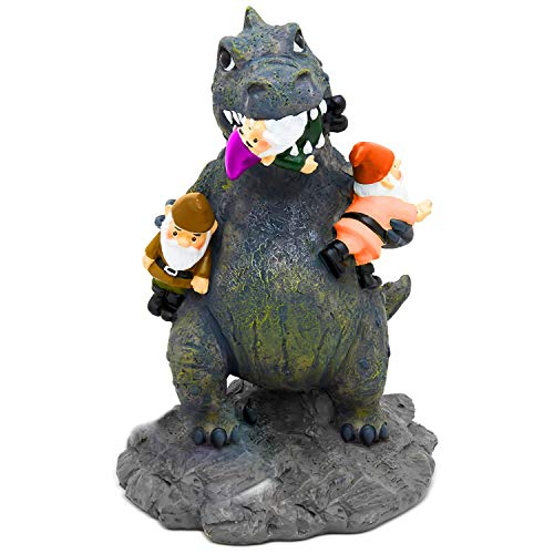 Garden Gnome Statue Home Outdoor Garden Lawn Funny Figure Angry Dinosaur Great Gifts Collectors Item -