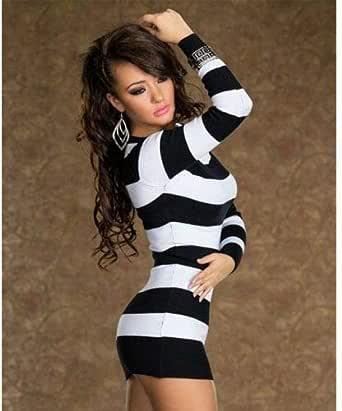 Women Fashion Striped Long Sleeve Mini Dress Club Wear Evening Party Dress - Free Size