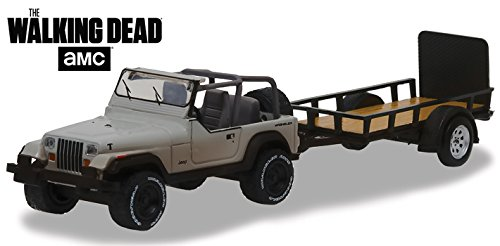 GREENLIGHT 32080-B 1:64 HITCH & TOW SERIES 8 - THE WALKING DEAD - MICHONNE'S JEEP WRANGLER YJ AND UTILITY TRAILER