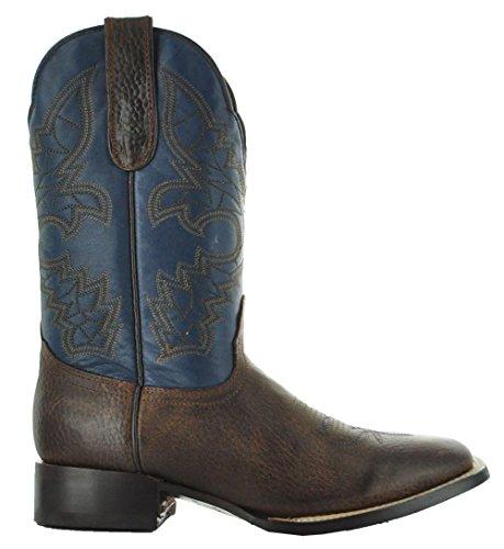 Stivali Da Cowboy In Pelle Bicolore Da Uomo Di Soto Boots Marrone / Blu