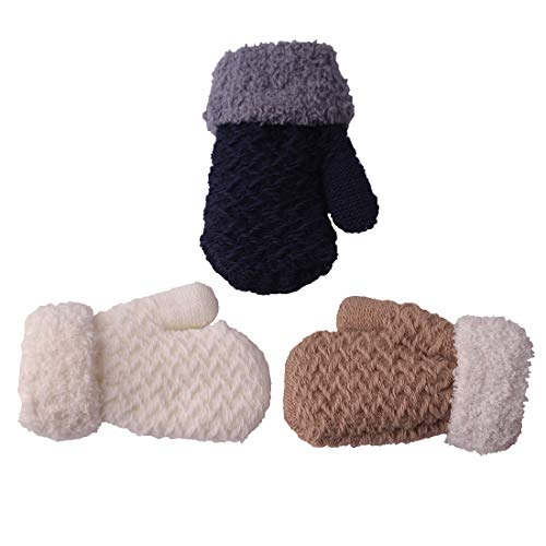 3 Pairs Toddler Baby Boy Girl Winter Mittens Gloves White Blue Khaki