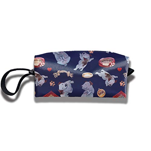 RZM YLY Puppy Dog Playing Print Classic Cosmetic Pouch Bag Storage Jewelry Pouch Travel Makeup Bag Pouch with Zipper -