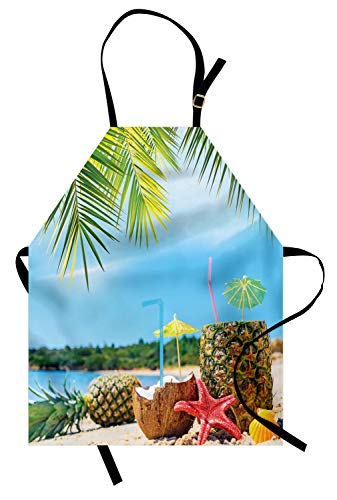 Ambesonne Tropical Apron, Fresh Summer Fruits Coconut and Pineapple Drinks at Exotic Beach Palm Trees, Unisex Kitchen Bib Apron with Adjustable Neck for Cooking Baking Gardening, Blue Green Brown ()