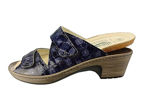 Algemare Damen Leder Pantolette Atlantik Kroko Keilpantolette mit Algen-Kork Wechselfußbett Made in Germany 6118_8267, Größe:39