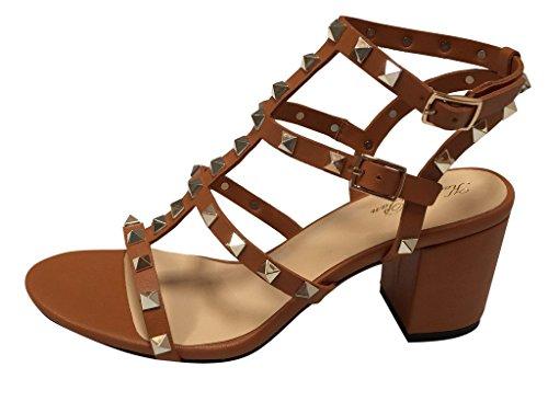 brown Open Block Heel Studded Sandal Toe Kaitlyn Pan Tan ZHf866