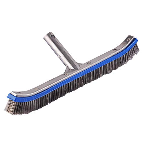 Heavy Duty 18'' Aluminum Swimming Pool Brush Stainless Steel Wire Bristle Pool Brush for Walls,Tiles & Floors Curved Cleaning Brushes ()