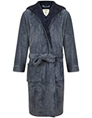 John Christian Men's Hooded Fleece Robe, Navy Marl