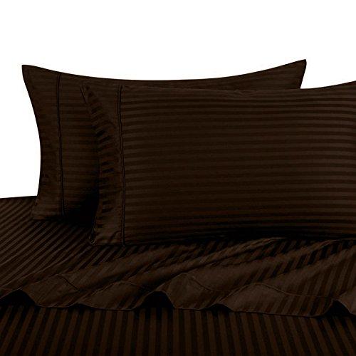 Damask Striped Pillowcase (Luxury Ultra Soft 100% Egyptian Cotton 300 Thread Count Sateen Stripe Damask Pillowcase Sets, , Pair of Two Pillowcases, King Size 2 Piece Pillowcase Set, Stripe, Chocolate)