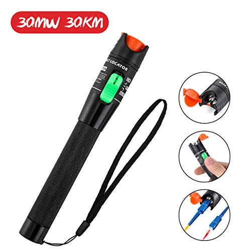 Visual Fault Fiber Optic Locator - Visual Fault Locator, GOCHANGE 30mW 30KM Red Light Fiber Optic Cable Tester Meter, Cable Test Equipment Suitable for 2.5 mm Connector, for CATV Telecommunications Engineering Maintenance