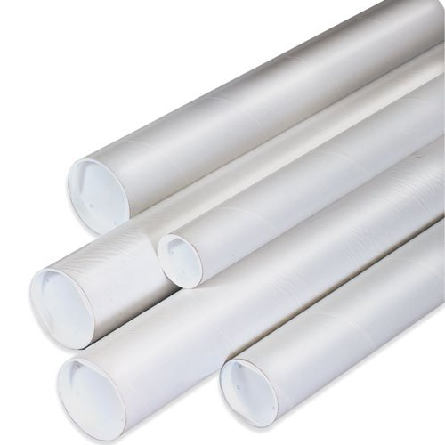 2'' x 12'' White Mailing Tubes with Caps (50/Case) by Shipping Supply
