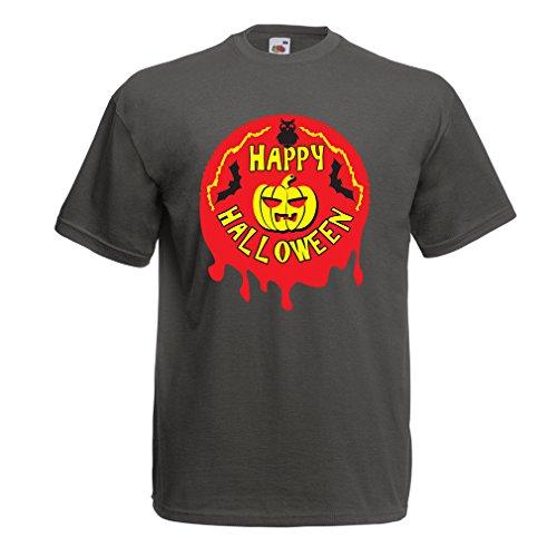 T shirts for men Happy Halloween! - party clothes - pumpkins, owls, bats (Large Graphite Multi (The Nearest Party City Store)