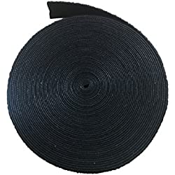 Aerfas Cable Tie, 3/4-Inch Black Roll Fastening Tape Roll Hook & Loop Sticky Cable Cord Wire Tie Strap Tape (8 Yards)