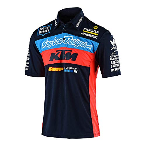 Troy Lee Designs Official 2019 Men's Team KTM Pit Shirt (XX-Large, Navy)