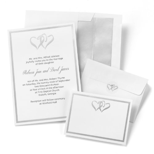Wedding invitation kits do it yourself amazon hortense b hewitt wedding accessories silver double heart invitation kit stopboris