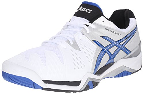 ASICS Men's Gel-Resolution 6 Tennis Shoe,White/Blue/Silver,9 D(M) US