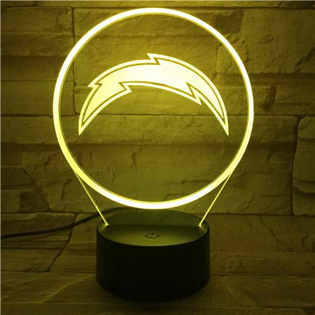 Football Logo Light Touch Control Football Team Night Light Lamp 7 Color Changing Touch Light Night Light for Boys Men Women for Football Sports Lovers (Los Angeles Chargers) (Touch Nfl Lamp)