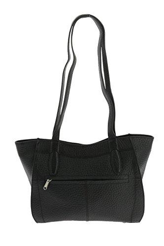 VOi Shopper 21841 Umhängetasche Damentasche Leder Schultertasche Schwarz