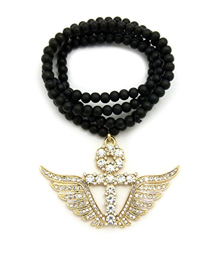 Hip Hop Iced Out Ankh Cross Wing Pendant 6mm 30