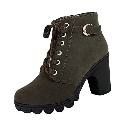 US4 Boots shoes Army platform TOOGOO vintage Women Martin heel Green 35 R Boots high Motorcycle single B6aqwU4