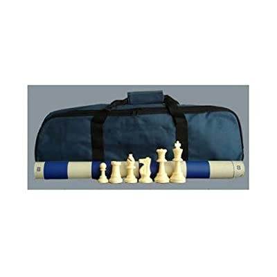 ChessCentral's Superior Tournament Chess Set with Chess Pieces, Blue Chess Board, and Blue Tote