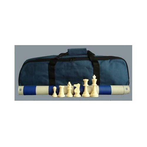 (ChessCentral's Superior Tournament Chess Set with Chess Pieces, Blue Chess Board, and Blue Tote)