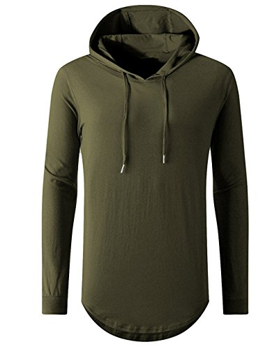 Aiyino Mens Hipster Hip Hop Long Sleeve Longline Pullover Hoodies Shirts (US XL, 03 Army Green) - Green Mens Pullover