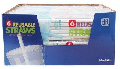 lifetime brands 5100761 6 Count, Replacement Opaque Polypropylene Reusable Plastic Straw