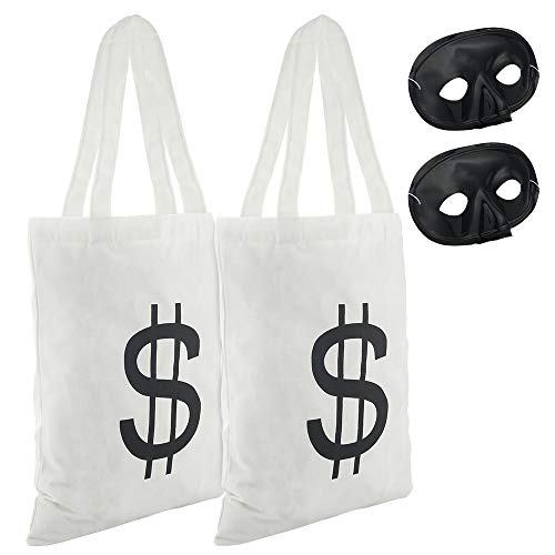 Halloween Party Bags Au (Auihiay Robber Costume Include 2 Pieces Tote Dollar Bag and 2 Pieces Bandit Eye Mask for Bank Robber Themed Party Halloween Costume Trick or Treat Party)