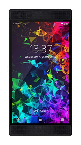 Razer Phone 2 (New): Unlocked Gaming Smartphone - 120Hz QHD Display - Snapdragon 845 - Wireless Charging - Chroma - 8GB RAM - 64GB - Mirror Black - Case Watch Design Square