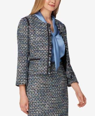 - Tahari by ASL Women's Round Neck Open Boucle Jacket with Contrast Shoulder and Pocket Trim Black/White/Blue 4