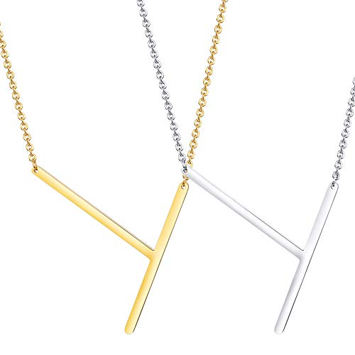 (LOYALLOOK Big Letter Necklace Initial Chain Script Name Stainless Steel Pendant Necklace 2Pcs Silver and Gold Letter Pendant T)