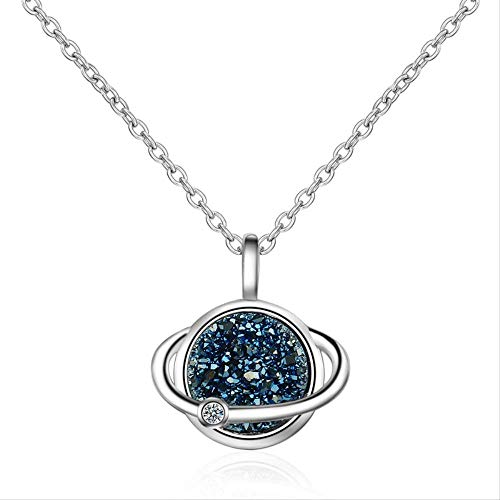 ACCTSY Fashion Women 925 Silver Necklace Jewelry for Lady Princess Birthday Trendy Crystal Earth Pendant Necklace -