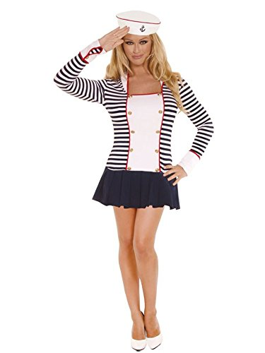 GTH Women's Sailor Navy Captain Outfit Fancy Dress Sexy Costume, M (Elegant Moments Sailor Costume)