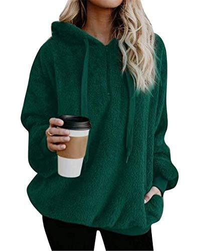 Haokan Abrigo de sudadera con capucha de la sudadera con capucha de la piel sintética de Hoode de las mujeres del tamaño extra grande sólido sólido (Color : Verde, tamaño : US-2XL)