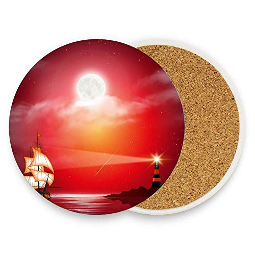PoppyAnthony Lighthouse Ocean Sailboat Under Moon Night Coaster for Drinks Hot Pads Table Cup Mat Coaster Pack Of 1