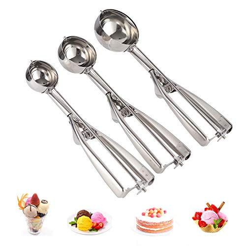 SZ-JIAHAIYU Stainless Steel Ice Cream Scoop Chef Soup spoon Cookie Scoop Cupcake Scoop with Trigger 18/8Medical Stainless Steel Used to Baking Cookie Making a Mold Model