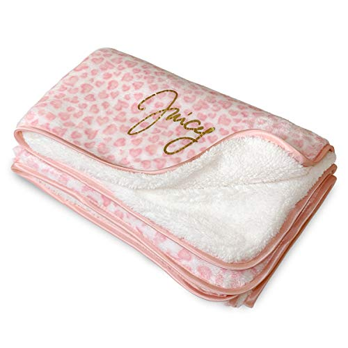 Juicy Couture Soft, Warm, and Cozy - Flannel and Sherpa Double Sided Infant Baby Blanket